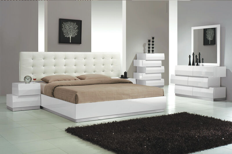 White Lacquer Bedroom Set Elegant Romantic Platform Bed Contemporary Ebay
