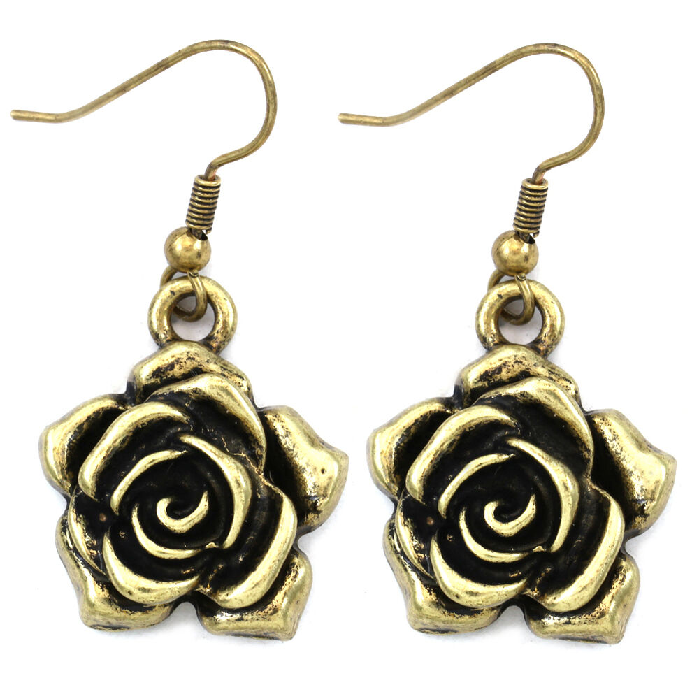 Antique Style Rose Flower Dangle Earrings Brass Bronze Tone Fashion Jewelry A1 Ebay