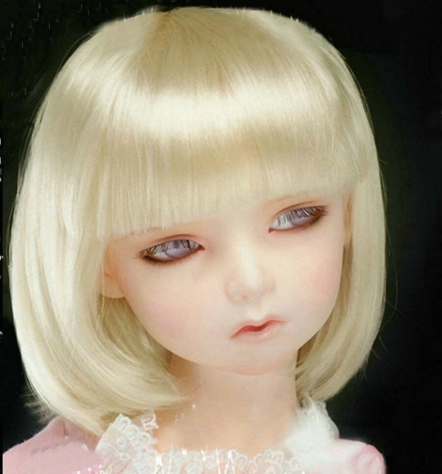 "5-6"" Blonde Bob Wig for Lati Yellow BJD Super Dollfie 