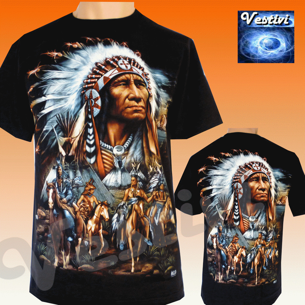 Mens Native American Indian Indians Tribes Tattoo T Shirt