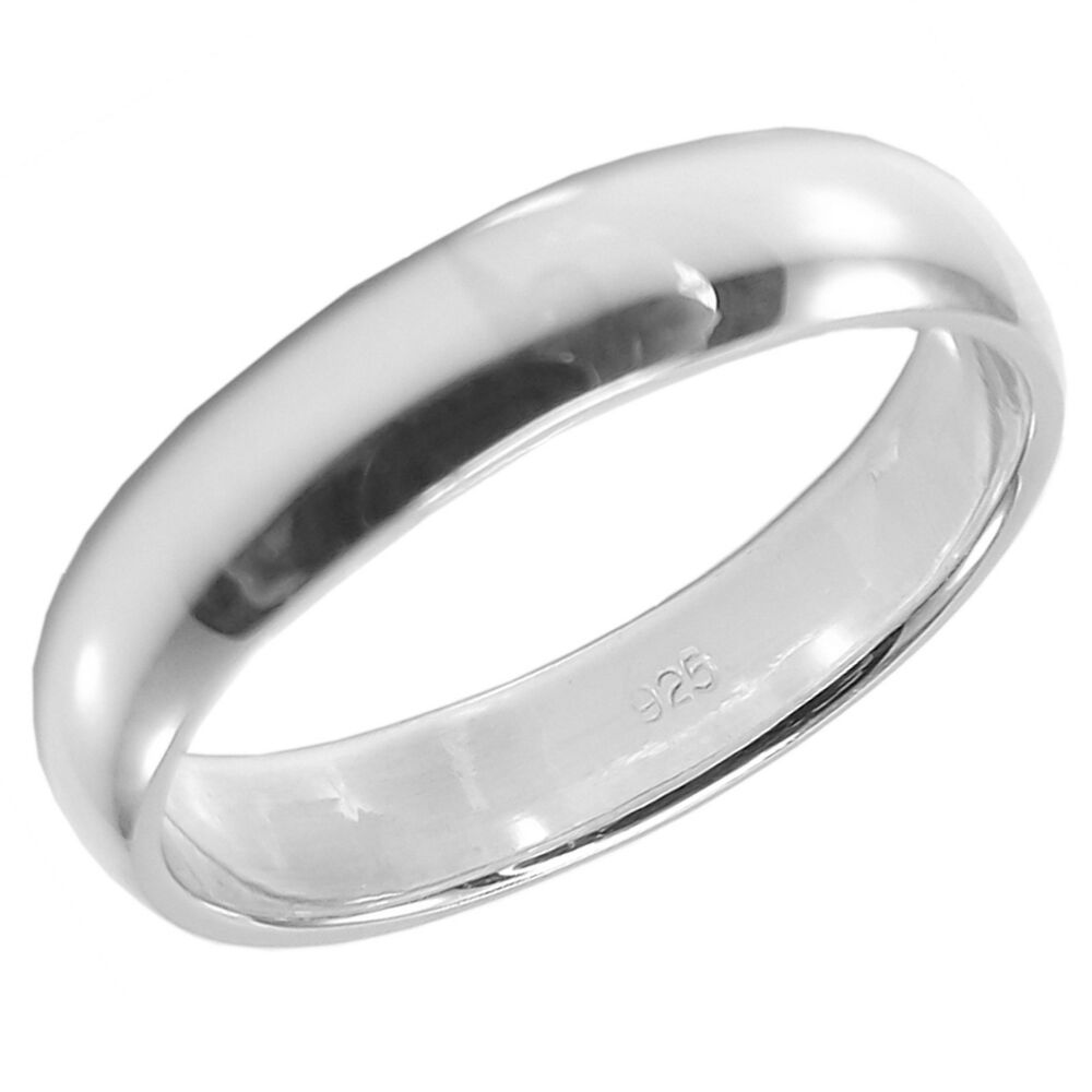 925 sterling silver plain band ring 4mm wide various sizes