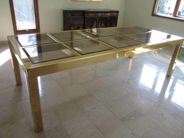 Mid century modern brass and glass dining table signed for Glam dining table