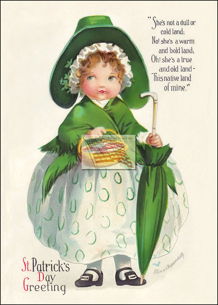 old postcard ST PATRICK'S DAY she's not a dull or ...
