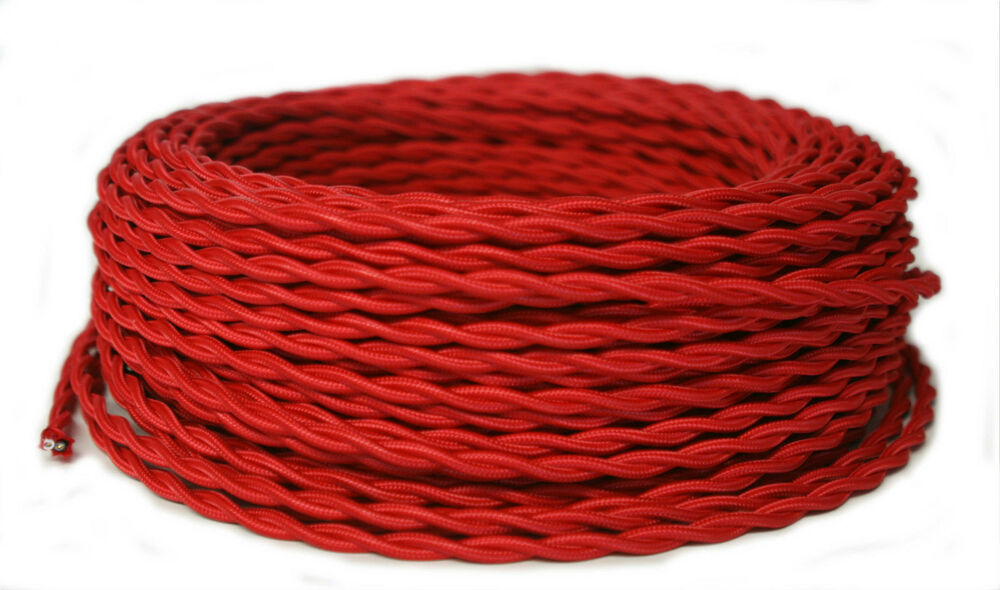 red twisted cloth covered wire antique style lamp cord vintage rayon. Black Bedroom Furniture Sets. Home Design Ideas