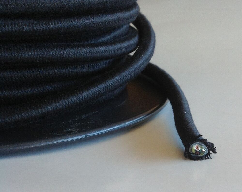 Black Cloth Covered Cord 3 Conductor Antique Style Cloth