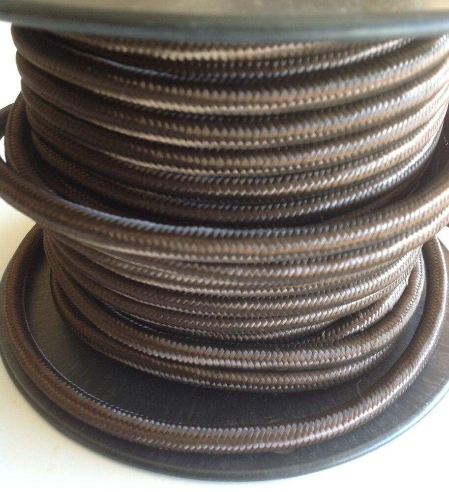 brown cloth covered cord 3 conductor antique style cloth wire. Black Bedroom Furniture Sets. Home Design Ideas