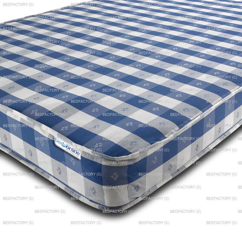 Budget mattress chequered 2ft6 3ft single 4ft small 4ft6 for Cheap single beds with mattress