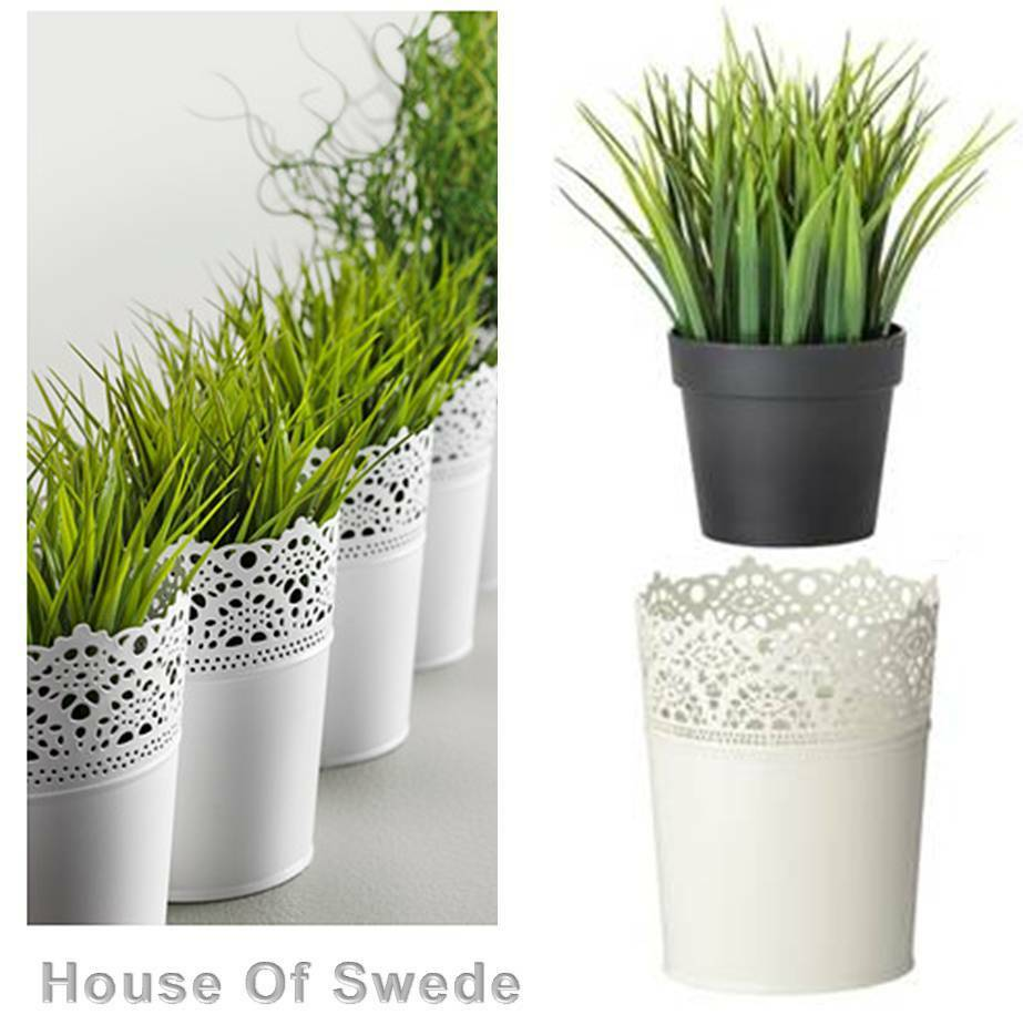 Ikea Artificial Green Grass Potted Fake Plant Off White