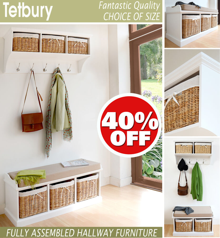 tetbury white hallway shelf with baskets shelf with hooks storage benchavailable ebay. Black Bedroom Furniture Sets. Home Design Ideas