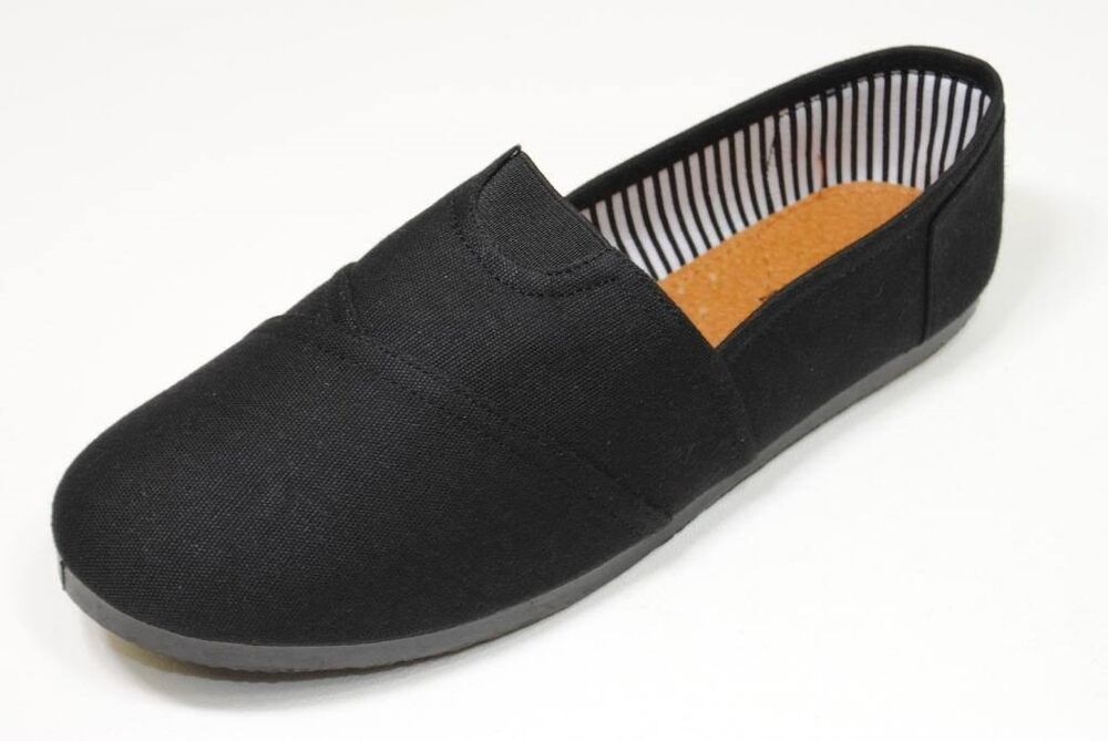 womens black canvas flats shoes slip on free shipping