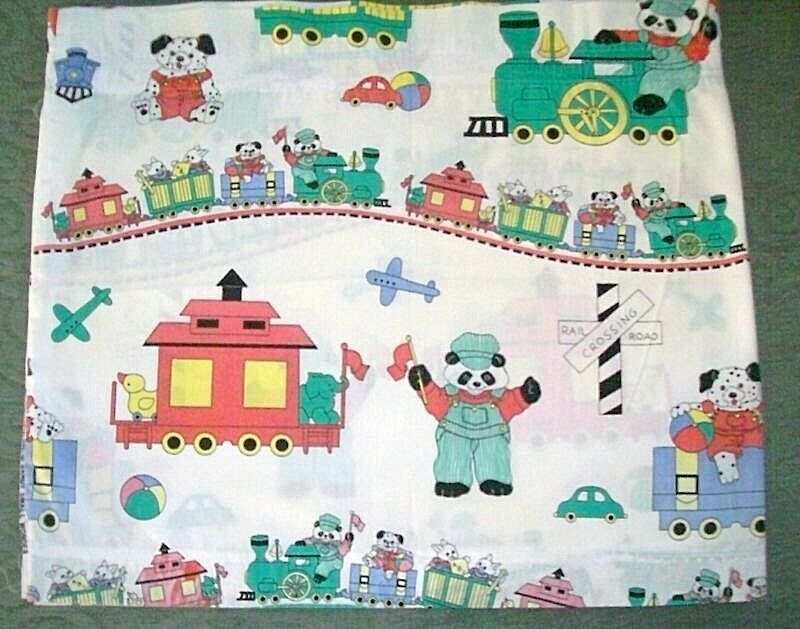 Animal train cartoons window curtain valance child nursery for Curtain fabric for baby nursery