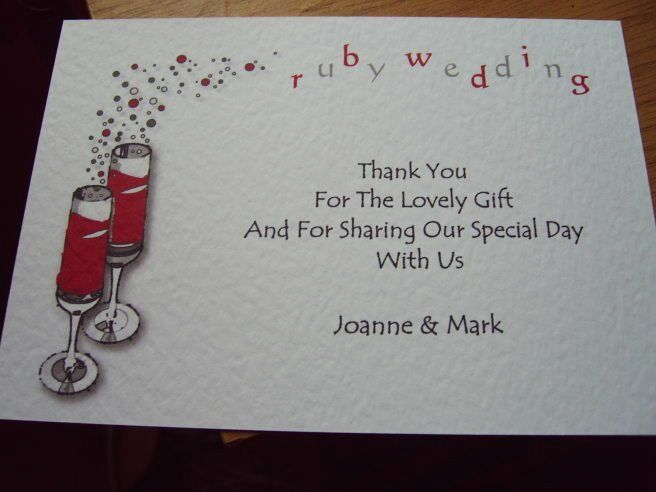 Ruby Wedding Gifts For Men: 5 RUBY WEDDING ANNIVERSARY THANK YOU CARDS PERSONALISED