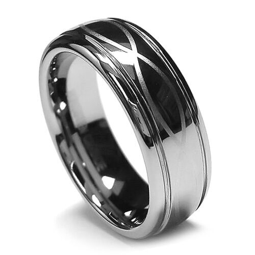 8mm mens tungsten ring wedding band infinity ring step With mens infinity wedding ring