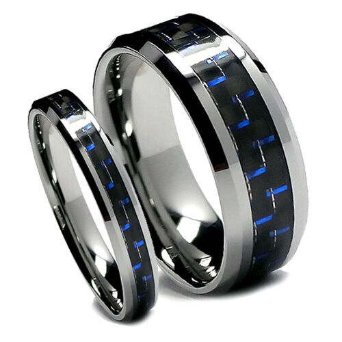 Matching Wedding Band Set Tungsten Rings Blue And Black