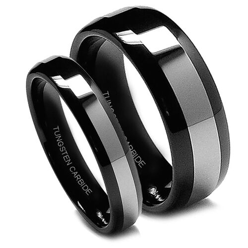 Matching Wedding Band Set Tungsten Rings Black Titanium Top Domed 8mm