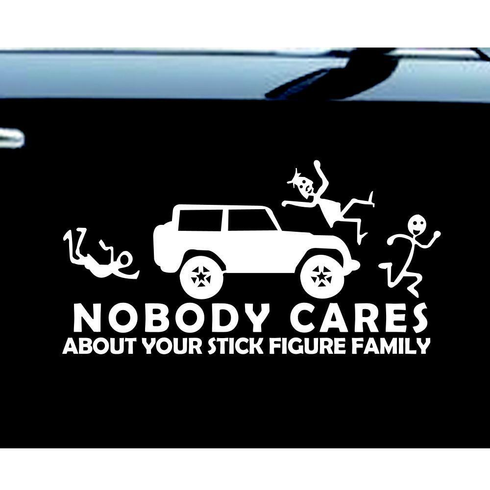 stick figure jeep family nobody cares car truck funny stickers decal decals ebay. Black Bedroom Furniture Sets. Home Design Ideas