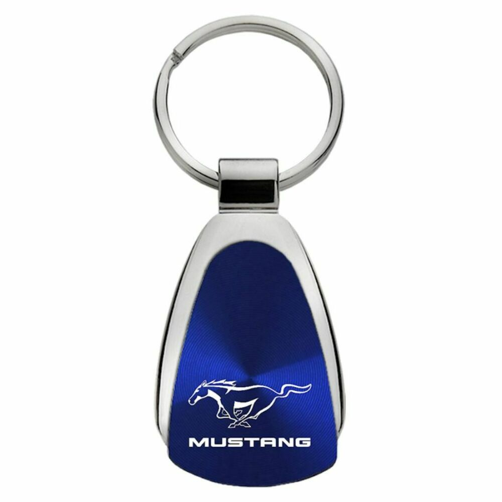 Ford Mustang Blue Teardrop Authentic Logo Key Ring Fob