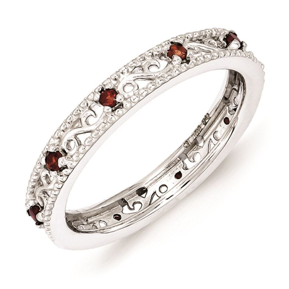 Garnet Ring Bands: Sterling Silver Stackable Ring Garnet Birthstones, Silver