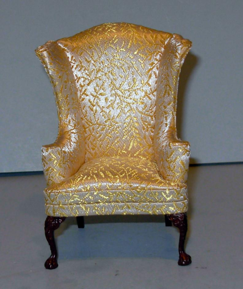 VINTAGE BESPAQ WHITE CHRISTMAS WING CHAIR DOLLHOUSE