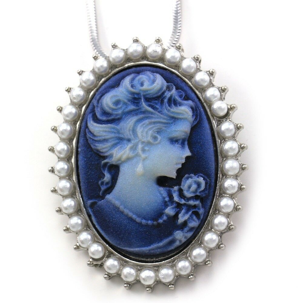 Antique Vtg St White Pearl Blue Cameo Pendant Necklace Ebay