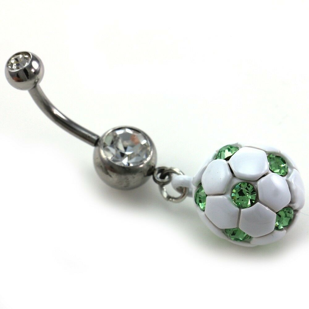 Light green soccer ball dangle banana belly barbell button for Belly button jewelry store