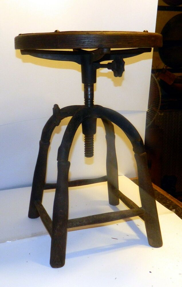 Wooden Drafting Stools ~ Industrial stool machine age steampunk drafting wood