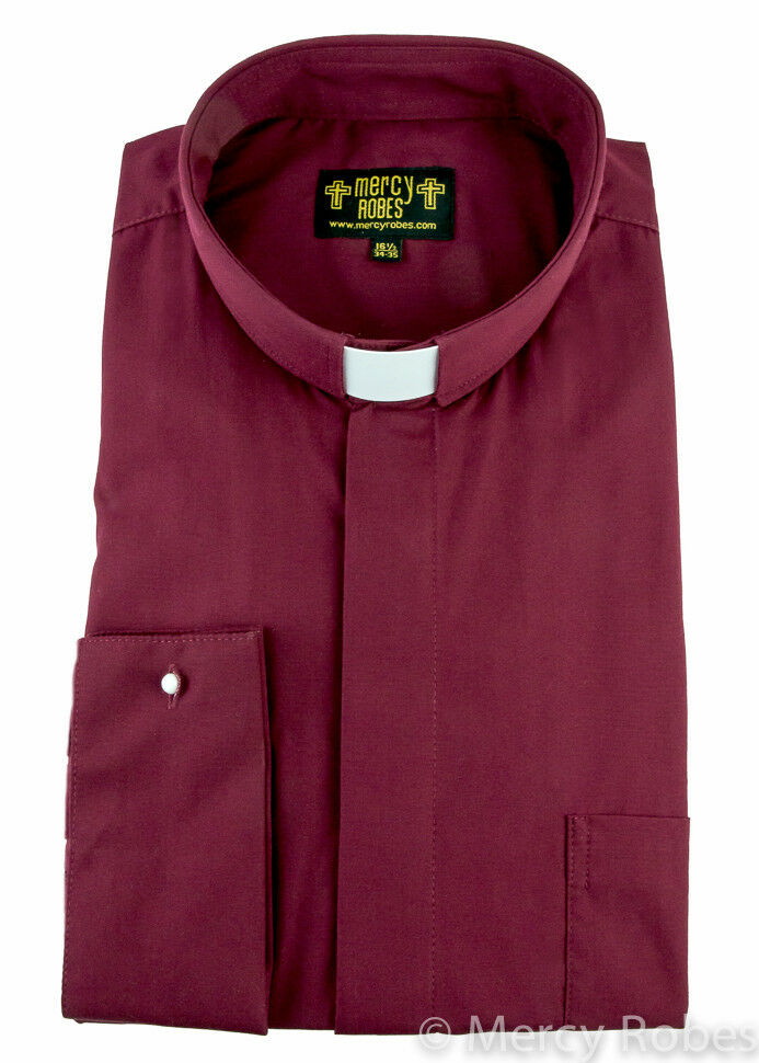Mens Clergy Shirt Burgundy Tab Collar Long Sleeve