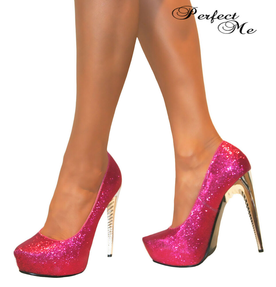 ladies pink glitter concealed platform stiletto high heels. Black Bedroom Furniture Sets. Home Design Ideas