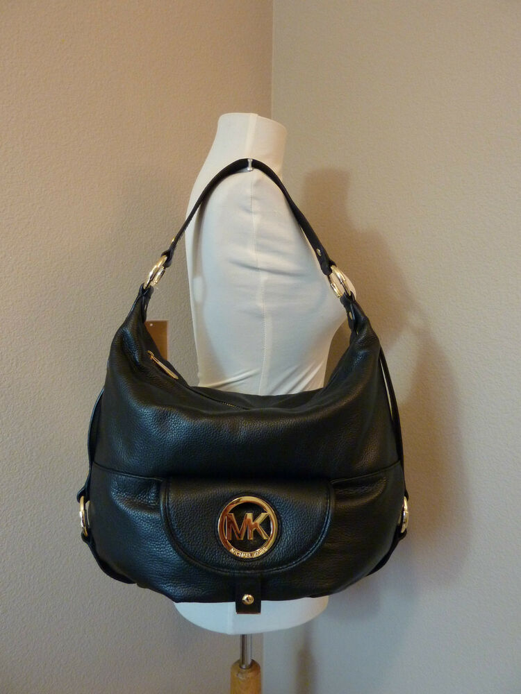 nwt michael kors black leather large fulton shoulder bag hobo 328 ebay. Black Bedroom Furniture Sets. Home Design Ideas