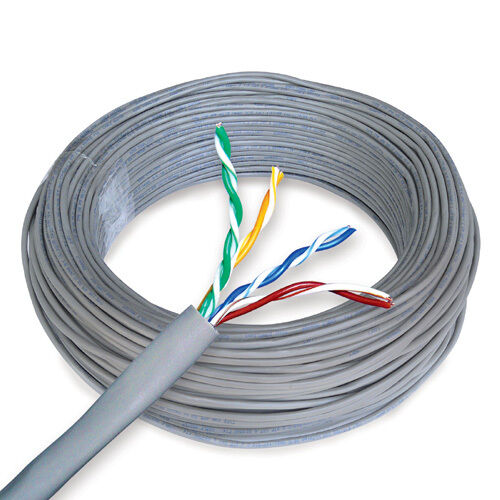 Cat 6 Bulk Ethernet Cable 250 Ft Solid Unshielded Gray