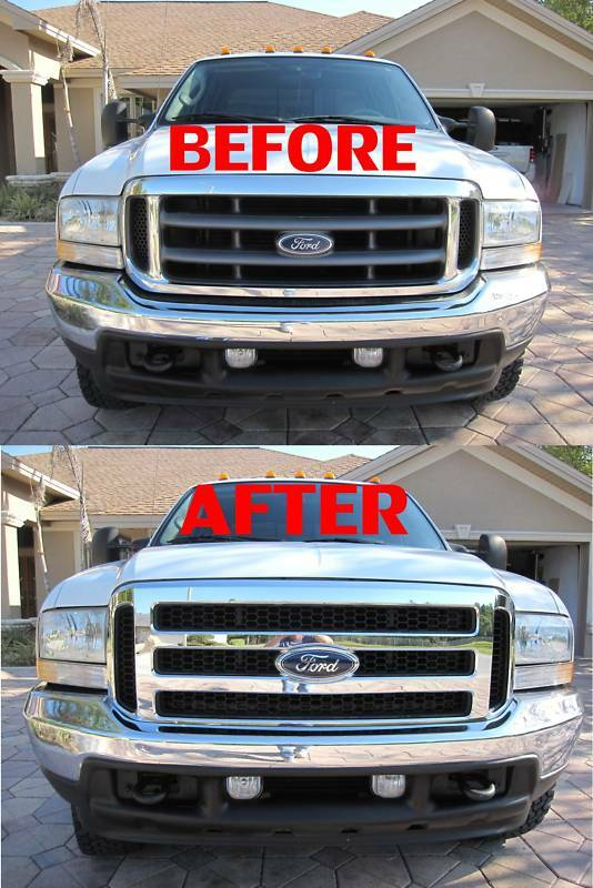 Ford Chrome Grill Conversion And Emblem Fits 99 04 Super