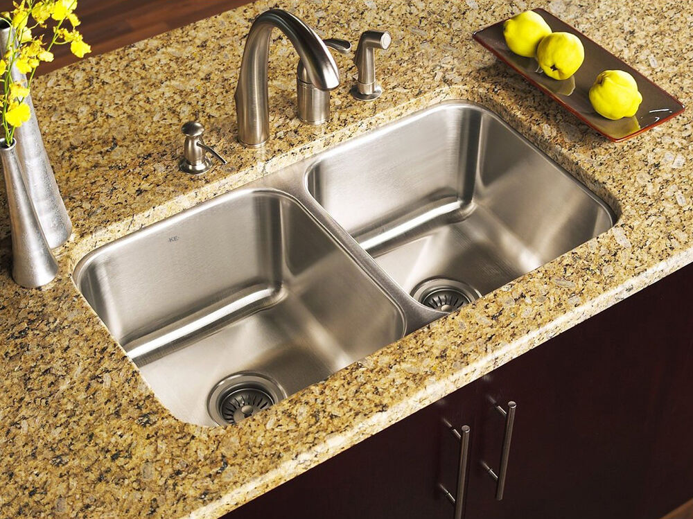 ke stainless steel undermount kitchen sink double 16g 50/50 equal