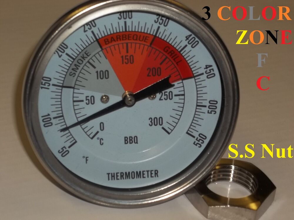 3 Quot Bbq Pit Smoker Grill Thermometer Temperature Temp Gauge