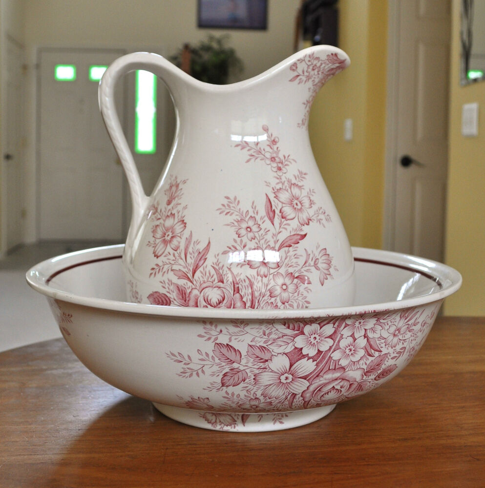Lovely Victorian Red Transferware Ironstone Pitcher Amp Wash