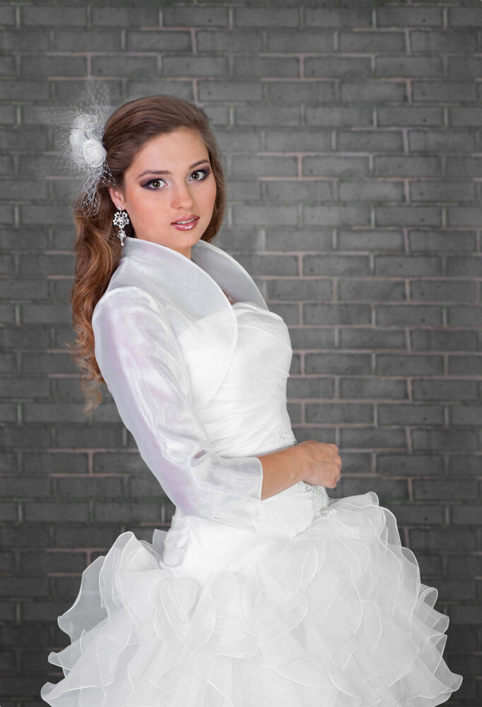 Wedding bridal ivory white organza bolero shrug jacket s m for Dress jackets for wedding