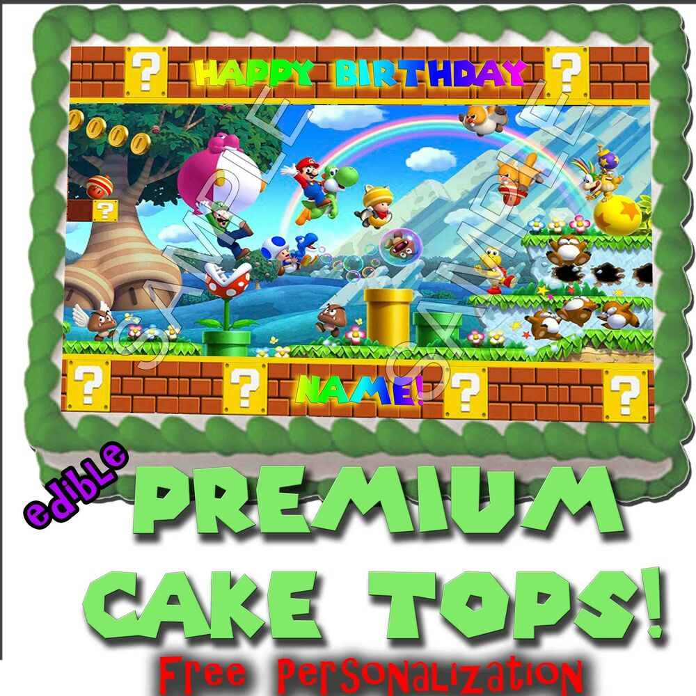 Wii U Super Mario Bros Birthday Cake 2 Topper Edible