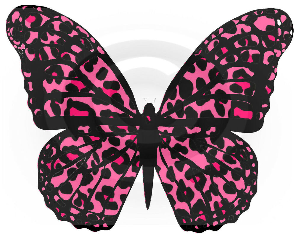 Pink leopard print butterflies cake toppers edible for Animal print edible cake decoration