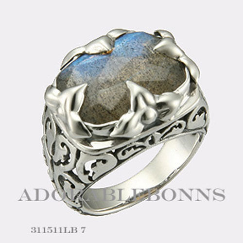 Authentic Lori Bonn Silver Mojo Petal Double Cocktail Ring