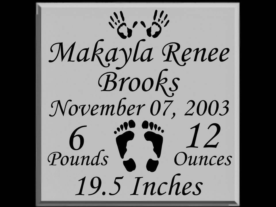 Personalized Baby Announcement Vinyl Nursery Decal Tile