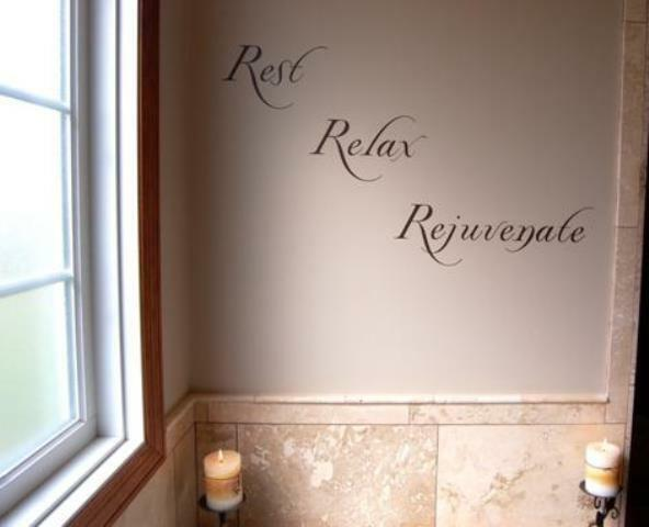 Rest relax rejuvenate vinyl wall decal sticker art for Bathroom wall decor uk