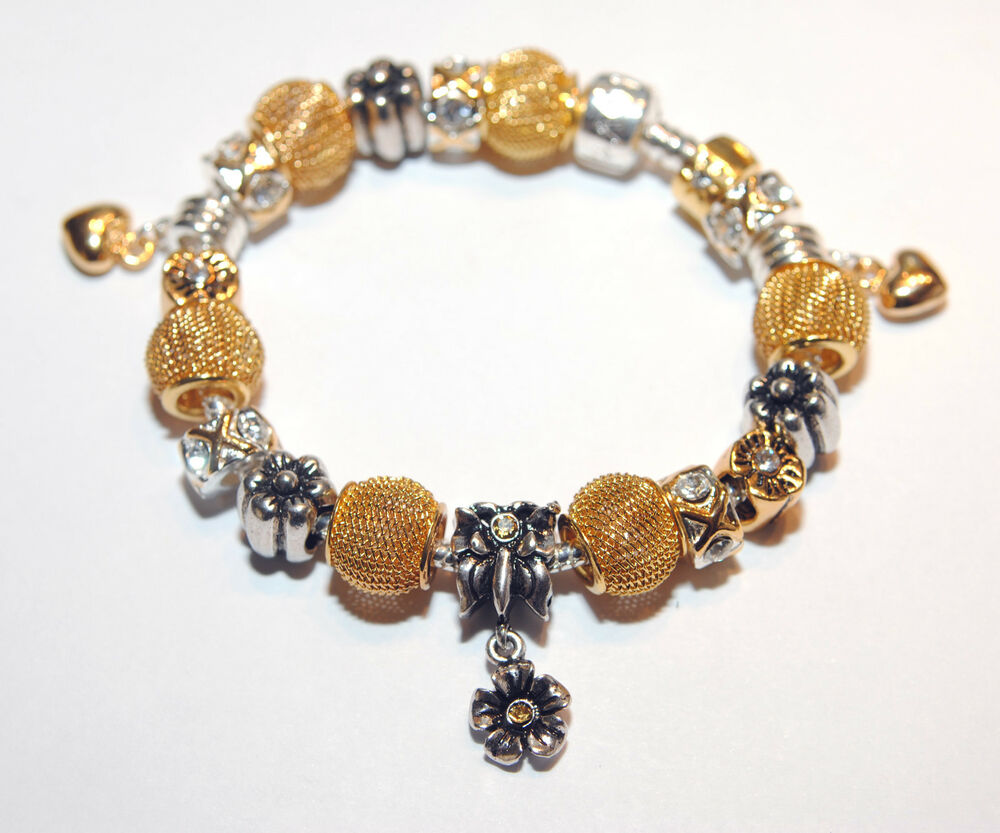 european style charm bead bracelet silver and gold ebay