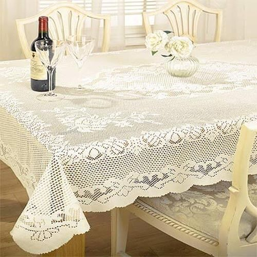 Lace Tablecloth Traditional Woven Floral White And Cream