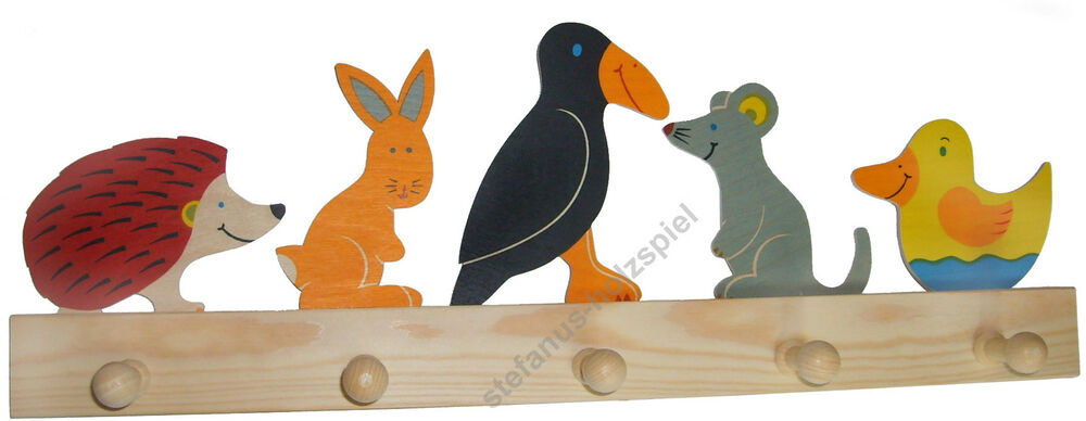 kinder garderobe tiere rabe igel maus hase 5 haken 50cm holz kinderzimmer neu ebay. Black Bedroom Furniture Sets. Home Design Ideas