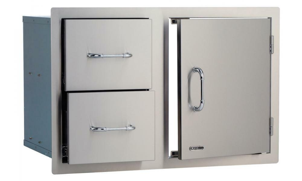 """BULL 30"""" Stainless Steel Door/Double Drawer Combo BBQ Grill Island Cabinet"""