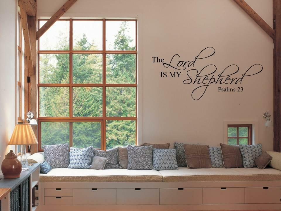 the lord is my shepherd inspirational bible verse vinyl wall decal art sticker ebay. Black Bedroom Furniture Sets. Home Design Ideas
