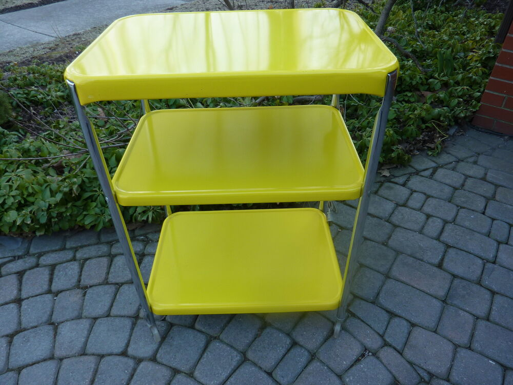 Vtg 50s Cosco Yellow 3 Shelf Metal Rolling Cart W
