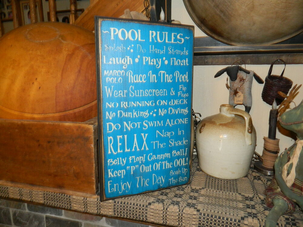 Primitive Sign Pool Rules Relax Enjoy Day Swimming Diving