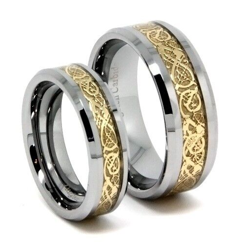 Matching Wedding Band Gold Dragon Tungsten Ring Set 8mm