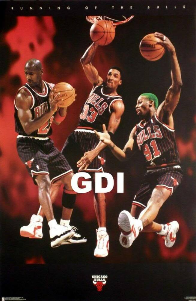 """Running of the Bulls"" Michael Jordan, Pippen, Rodman Chicago Bulls NBA poster 