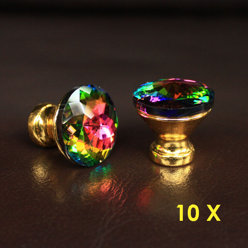 10 pcs crystal glass drawer knobs golden base cabinet for Colored glass cabinet knobs